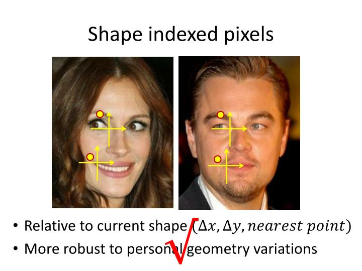 Shape indexed pixels