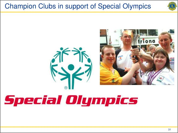 Champion Clubs in support of Special Olympics