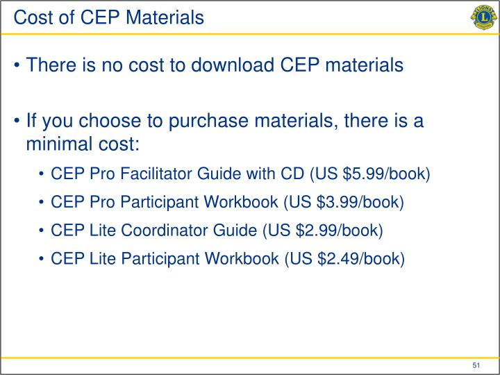 Cost of CEP Materials