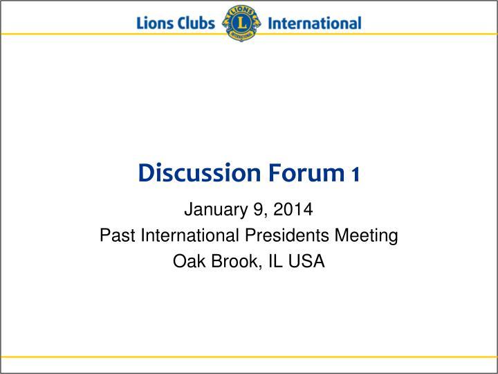 Discussion Forum 1