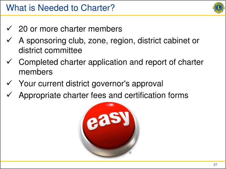 What is Needed to Charter?