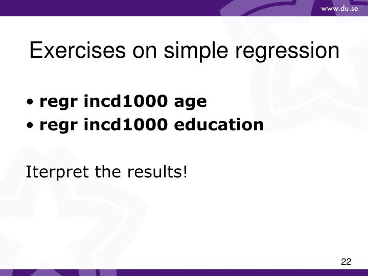 Exercises on simple regression