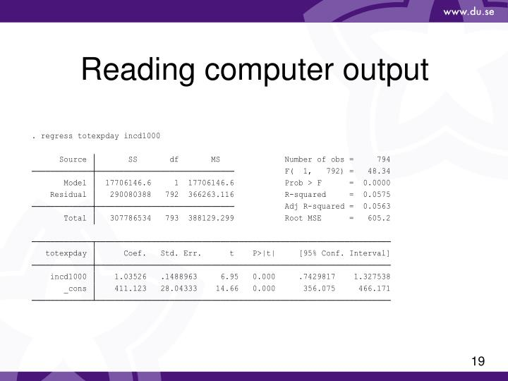 Reading computer output