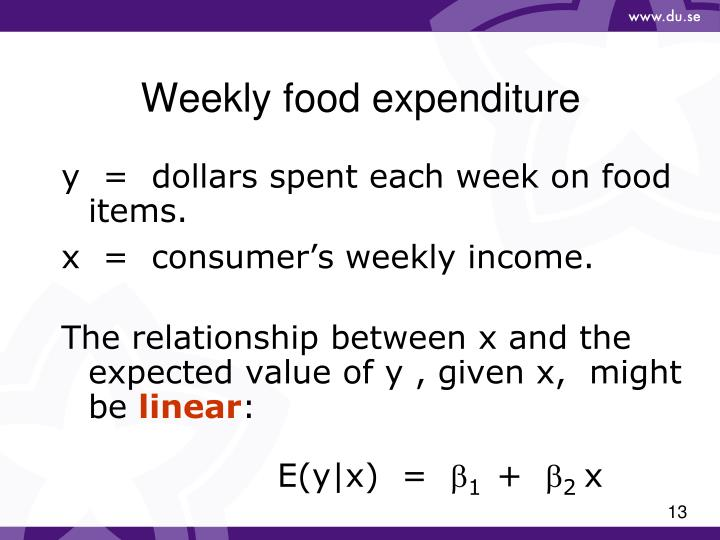 Weekly food expenditure