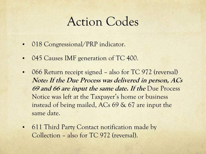 Action Codes