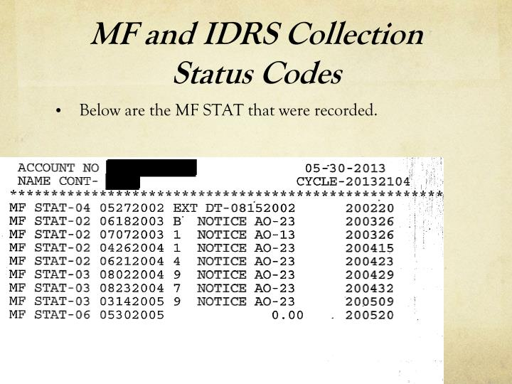 MF and IDRS Collection Status Codes