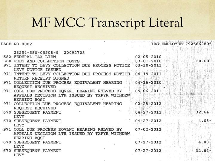 MF MCC Transcript Literal