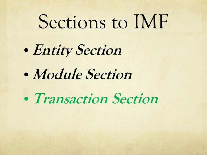 Sections to imf