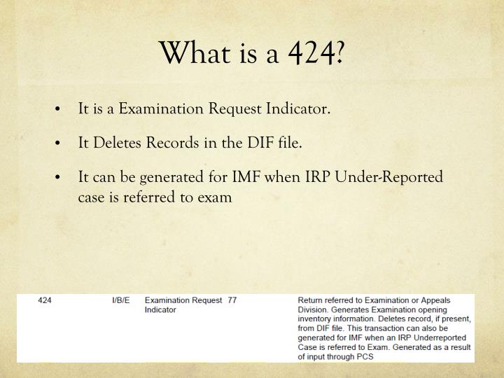 What is a 424?
