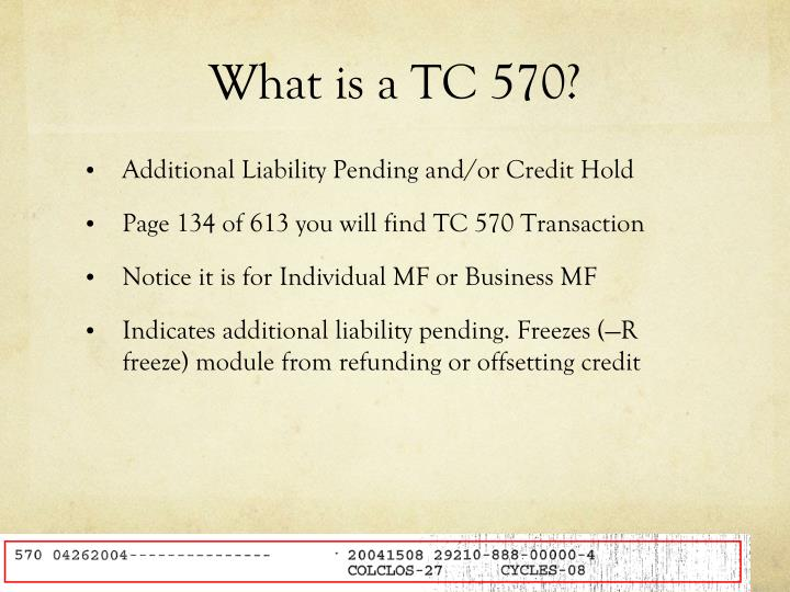 What is a TC 570?