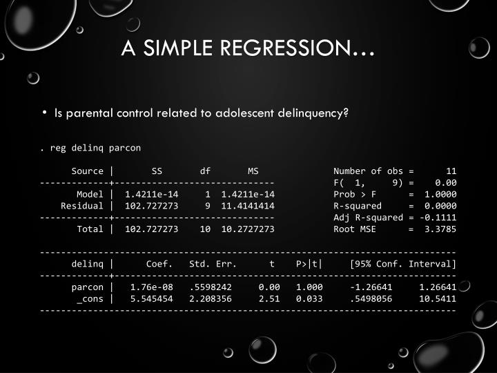 A simple regression…