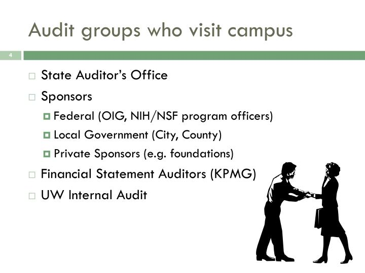 Audit groups who visit campus