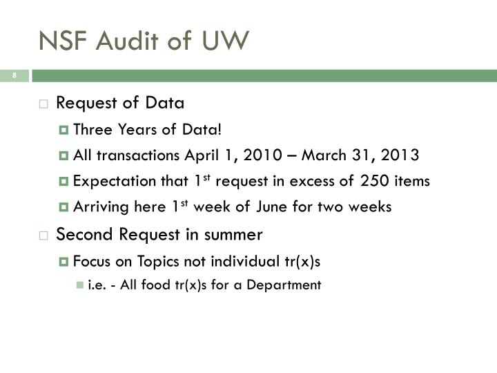 NSF Audit of UW