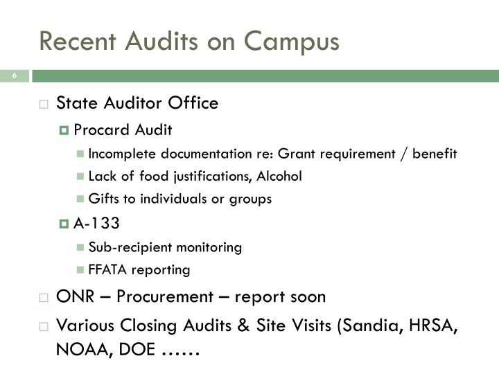 Recent Audits on Campus