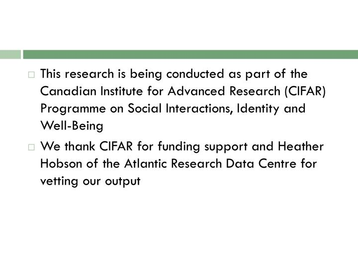 This research is being conducted as part of the Canadian Institute for Advanced Research (CIFAR) Pro...