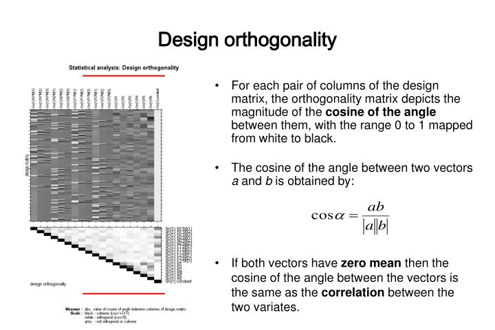 Design orthogonality