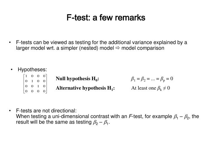 F-test: a few remarks