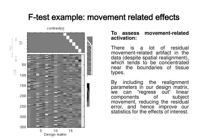 F-test example: movement related effects