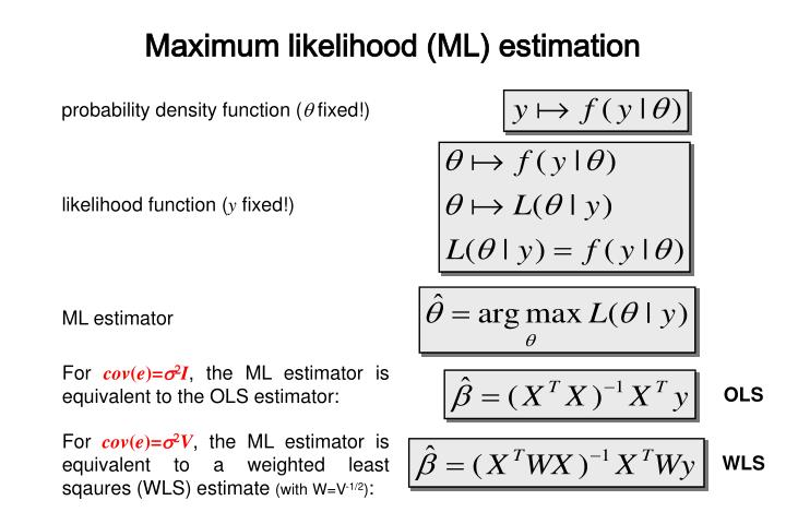 Maximum likelihood (ML) estimation