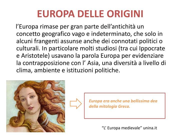 EUROPA DELLE ORIGINI