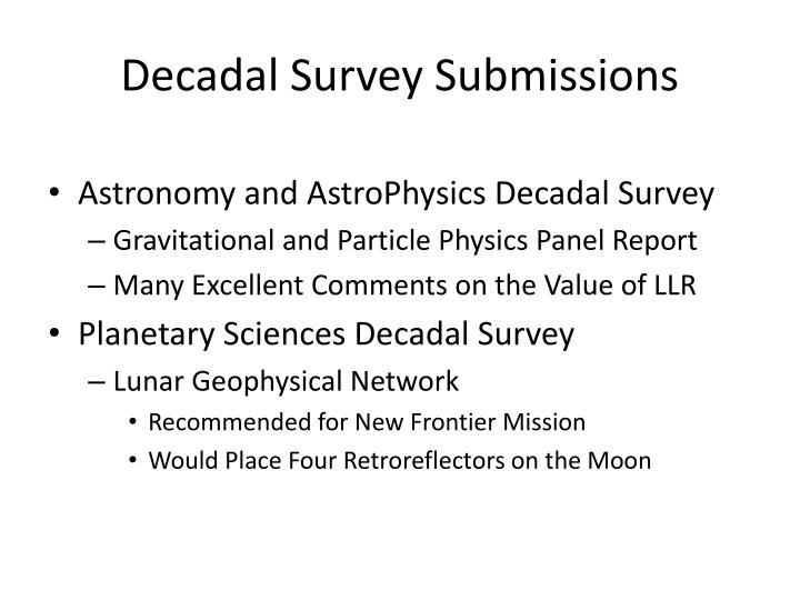 Decadal survey submissions