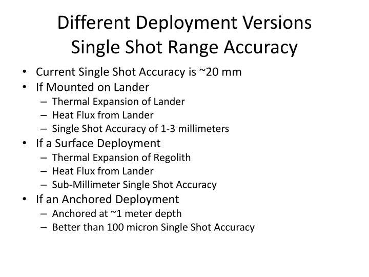 Different Deployment Versions