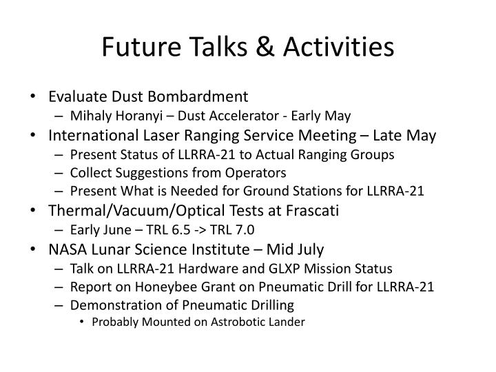 Future Talks & Activities