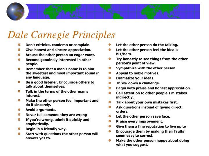 Dale Carnegie Principles
