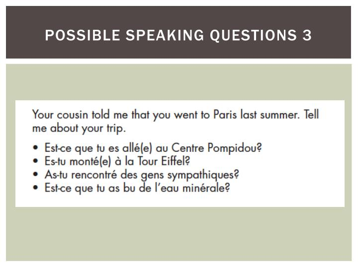 possible speaking questions 3