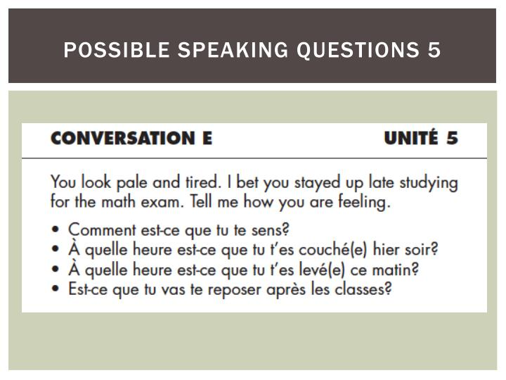 possible speaking questions 5