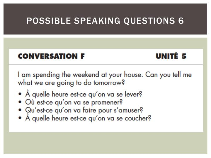 possible speaking questions 6