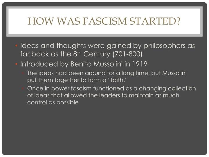 How was fascism started