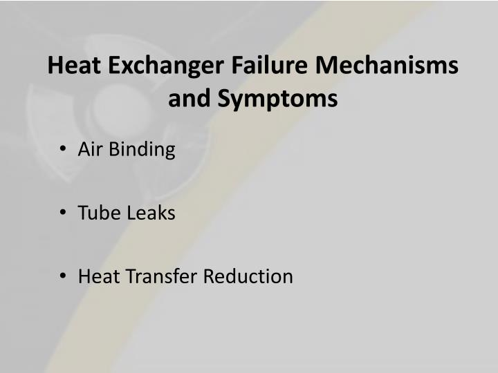 Heat Exchanger Failure Mechanisms and Symptoms