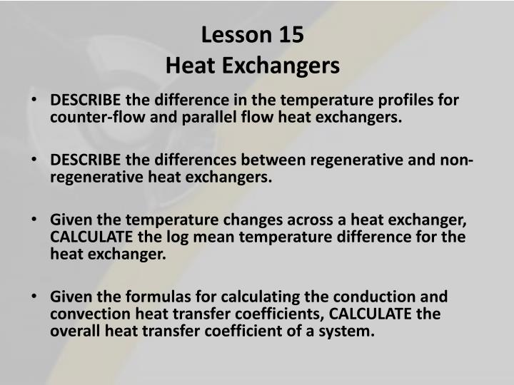 Lesson 15 heat exchangers