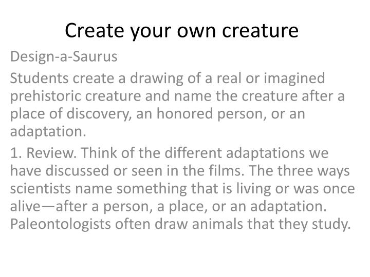 Create your own creature