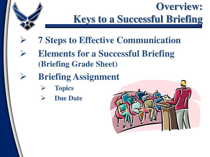 Overview keys to a successful briefing