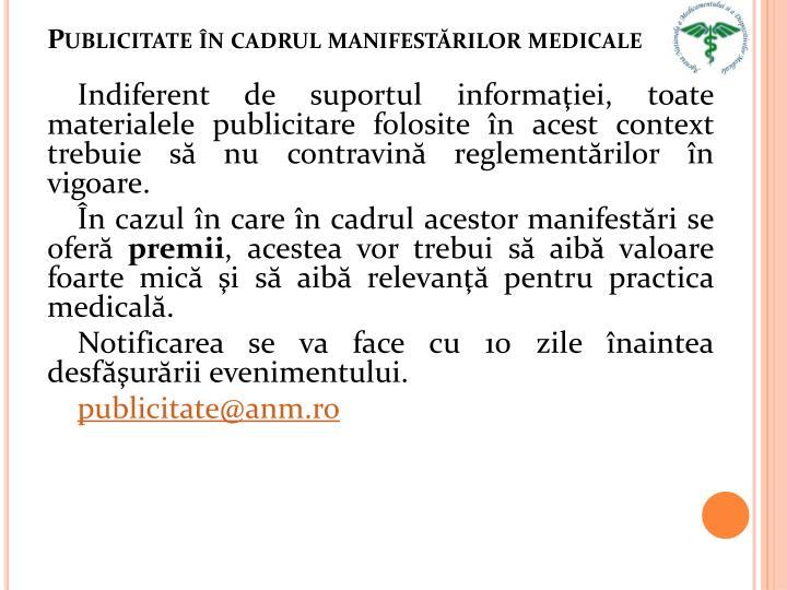 Publicitate în cadrul manifestărilor medicale