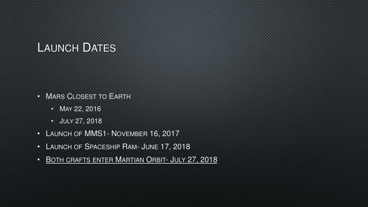 Launch Dates