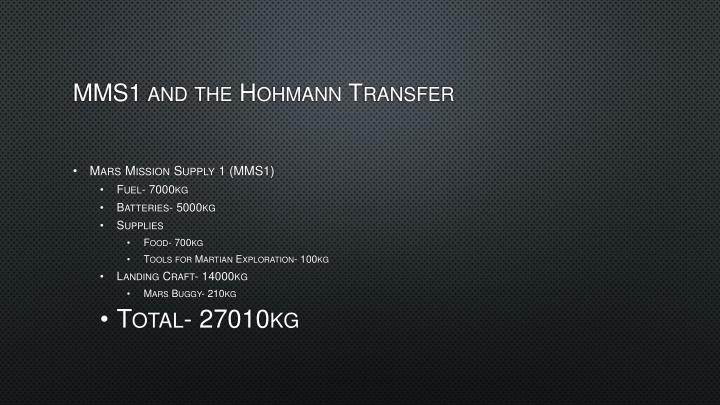 MMS1 and the Hohmann Transfer