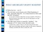 what are belize s rainy seasons