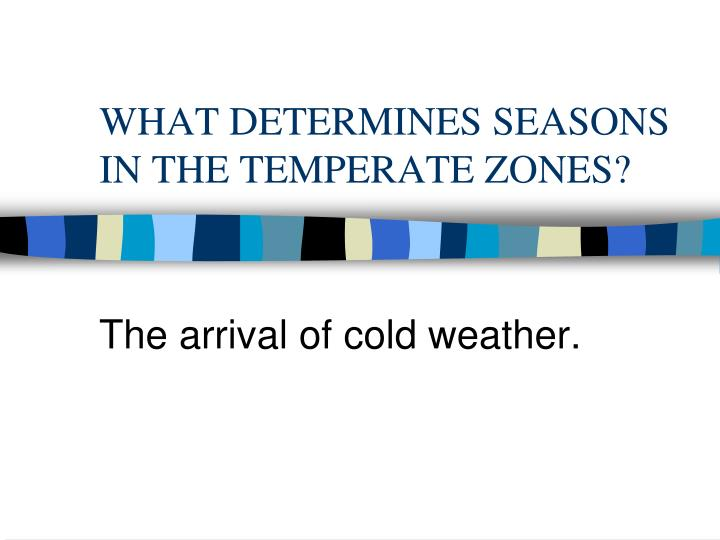 WHAT DETERMINES SEASONS IN THE TEMPERATE ZONES?