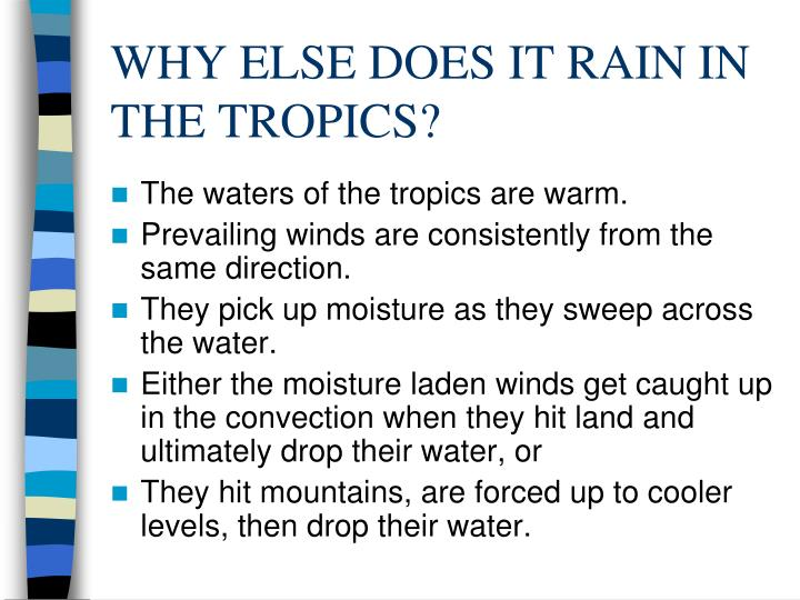 WHY ELSE DOES IT RAIN IN THE TROPICS?