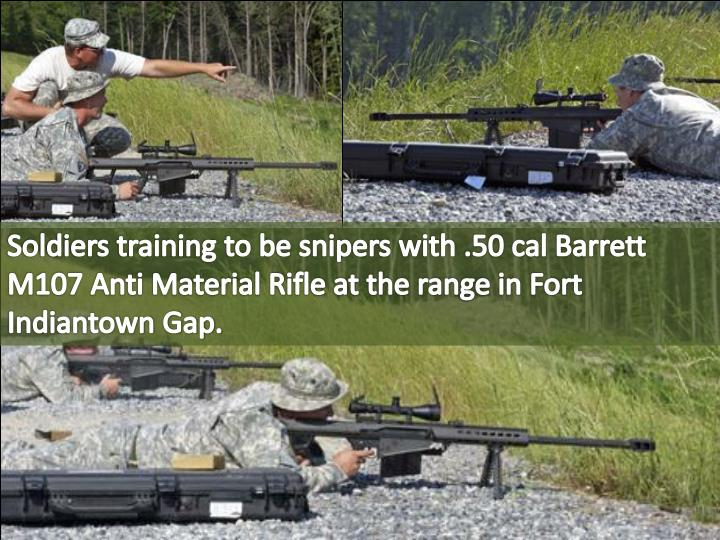 Soldiers training to be snipers with .50 cal Barrett M107 Anti Material Rifle at the range in Fort Indiantown Gap.