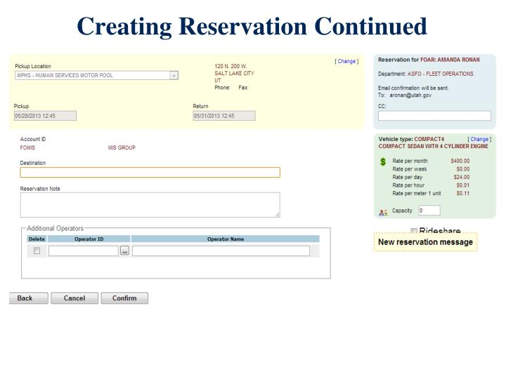 Creating Reservation Continued
