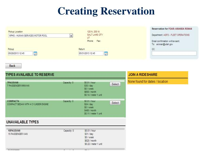 Creating Reservation