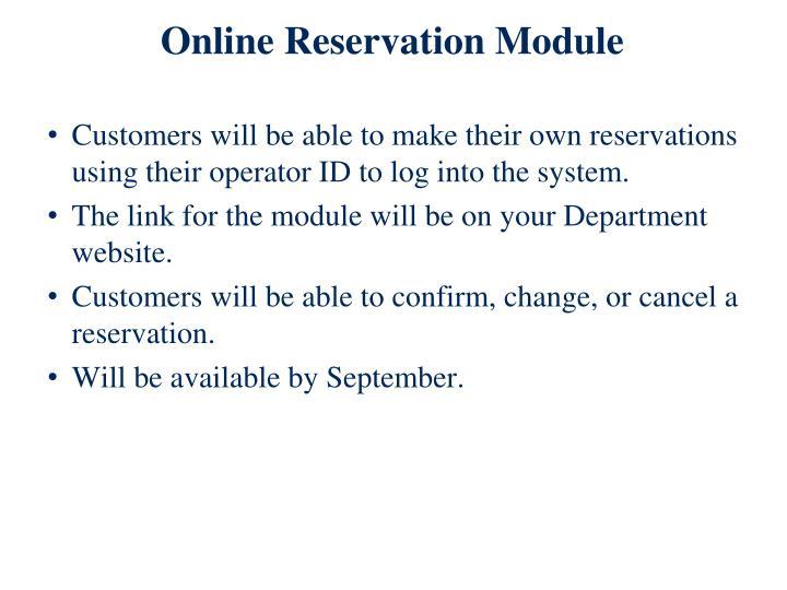 Online Reservation Module