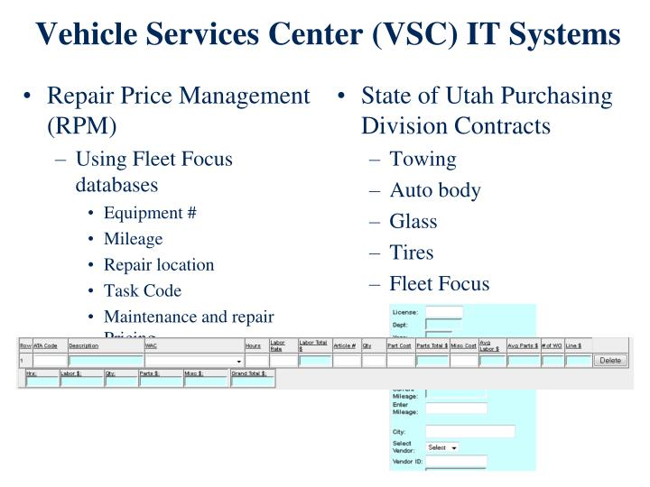 Vehicle Services Center (VSC