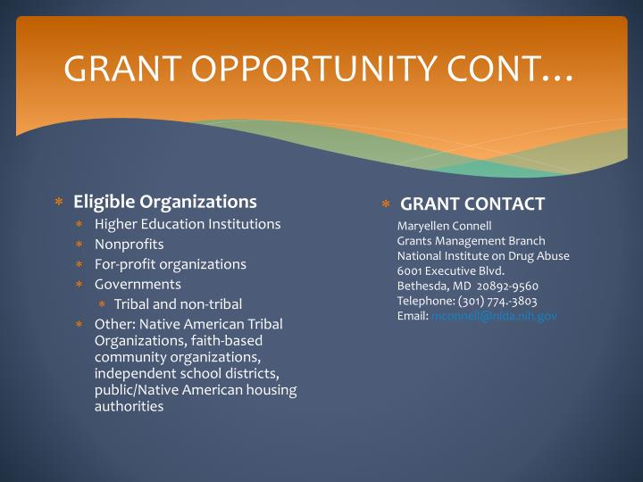 GRANT OPPORTUNITY CONT…