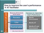 how to improve the user s performance at facilitator