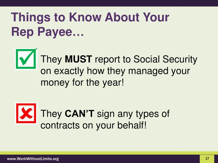 Things to Know About Your     Rep Payee…
